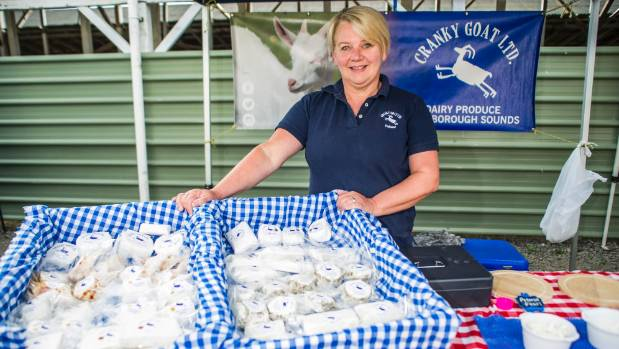 Cranky Goat cheese has been making a big impact nationally. Hellene Lamb sells the cheese at the Marlborough Farmers' Market.