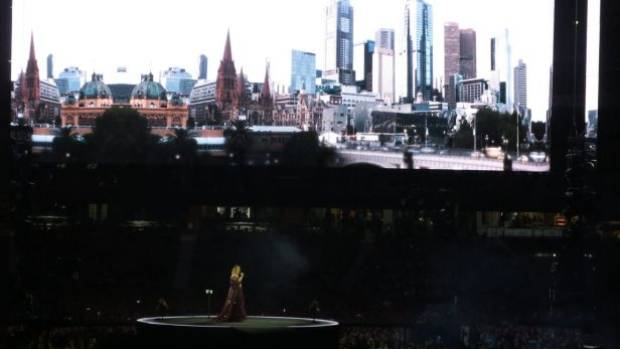 The Aussie crowd lapped up the Melbourne-themed visuals.