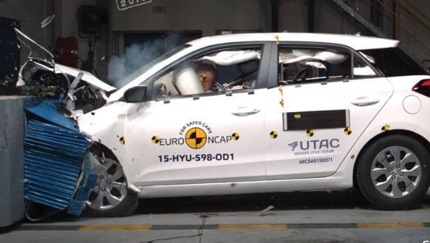 Hyundai's i20 undergoes frontal offset crash test in its EuroNcap test.