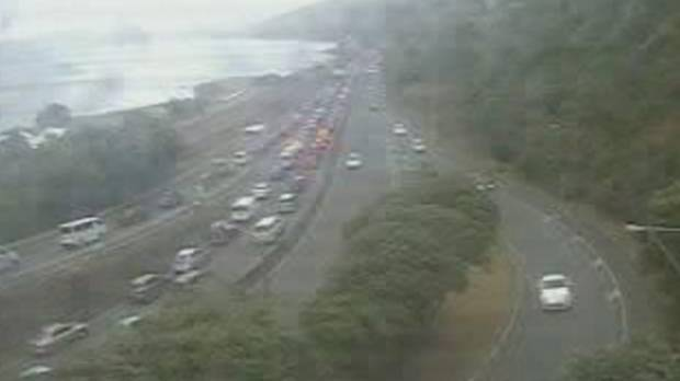 A traffic camera shows traffic at a standstill at the Petone onramp, heading south to Wellington.
