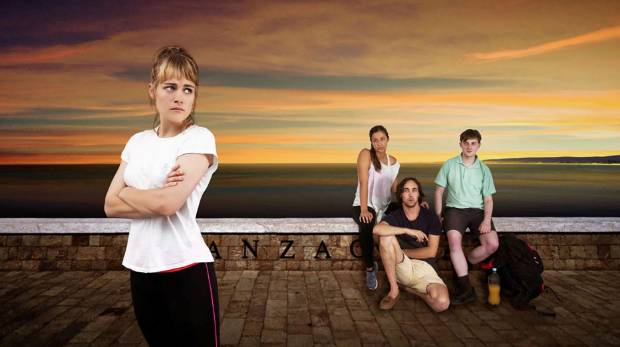 Maia (played by Ruby Hansen), and characters Lizzie (Trae Te Wiki), Ben (Barnaby Olson), and Phil (Hayden Frost) in ...