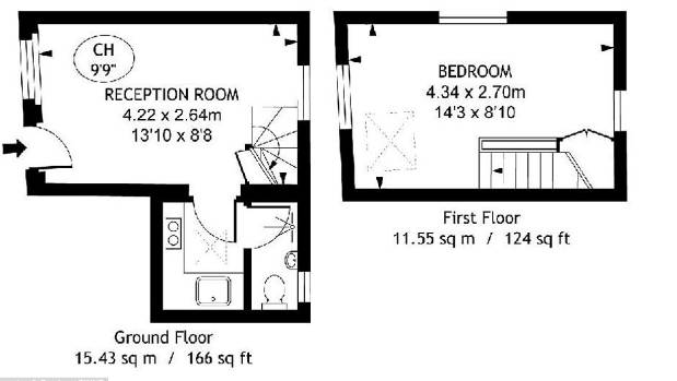 The house has two floors of 11.55sqm plus a kitchen and bathroom area of around 4 sqm on the ground floor.