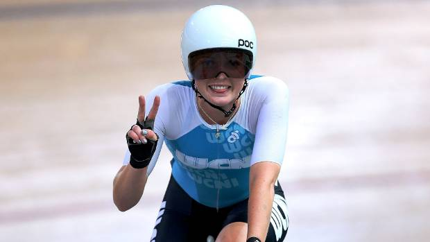 Manawatu's Michaela Drummond celebrates her win in the elite women's omnium at the age group track cycling national ...