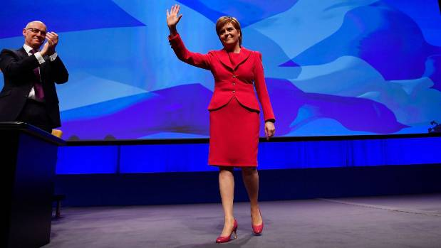 Nicola Sturgeon rocks her trusty Totty Rocks suit.