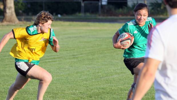 Ruby Tui, right, in 2012 during the Go4Gold Women's Sevens Programme.
