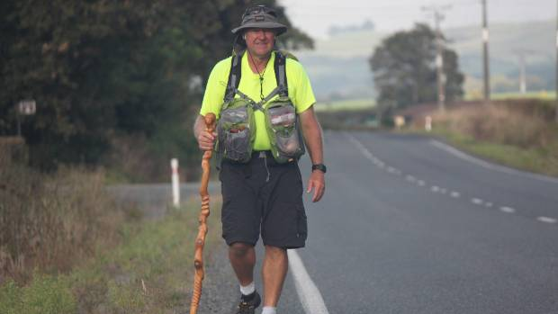 Phil Pawley on the Morrinsville to Waharoa leg of his hikoi from Waitangi to Waikanae.
