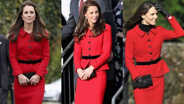 The Duchess of Cambridge wearing her red Luisa Spagnoli suit on three occasions - including one here in New Zealand.