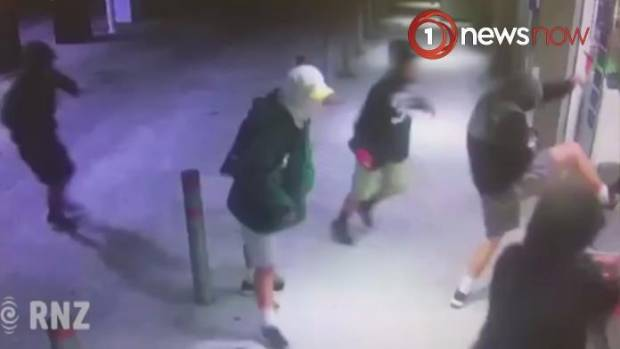The mob of youths were shown kicking and hurling rocks at the Kaikohe petrol station.