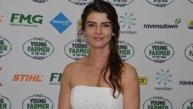 Kendall at the prize giving ceremony for the northern region Young Farmer of the Year final.