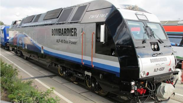 A European-designed Bombardier (dual-mode electric and diesel) locomotive, manufactured for Indian Railways.