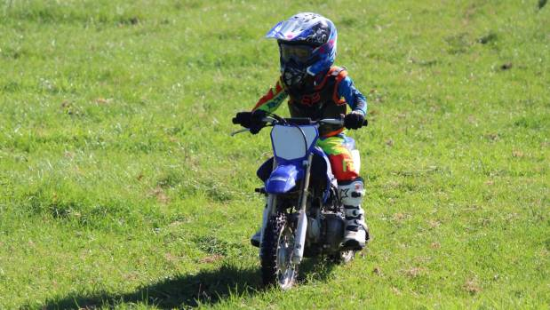 Daytona Phillips, 4, of Paeroa, has fun on the Peewee track.