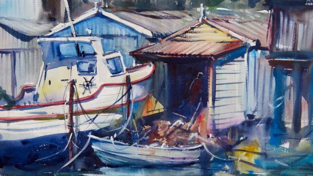 Some of the sheds down on the Petone Foreshore, painted by Pearson.