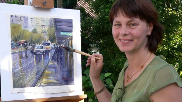 Artist Jacky Pearson working on one of her watercolours ahead of her first solo exhibition at the Alfred Memelink ...