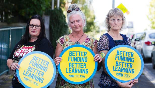 School support staff, from left, Fiona Ransfield, Shelley Karaka and Julie Mitchell, who all want better pay conditions.