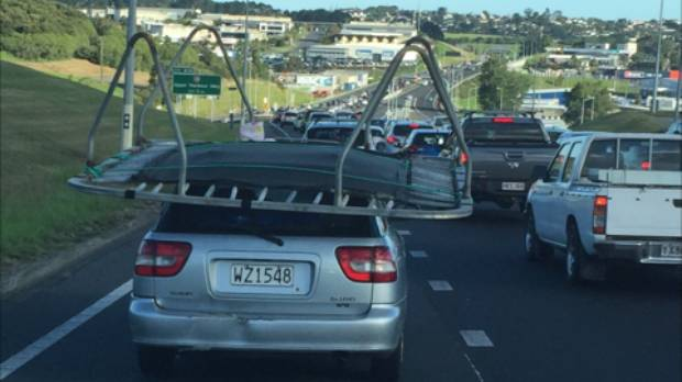 If you saw a moving trampoline along Auckland's northern motorway on Sunday, you're not alone.