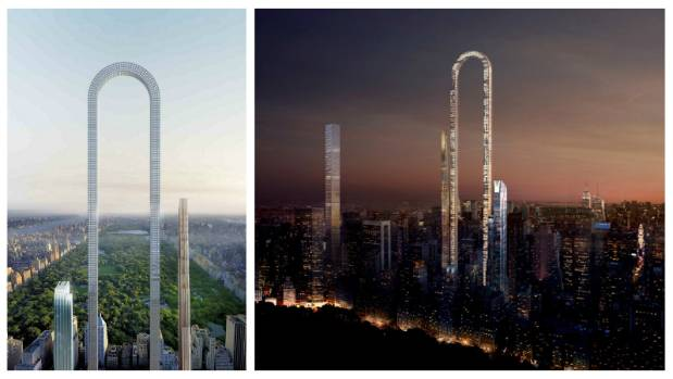 Oiio Studio's conceptual drawings position The Big Bend on West 57th Street, just south of Manhattan's Central Park. The ...