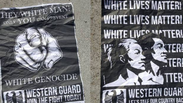White supremacist posters appeared on Auckland University campus on Monday morning.