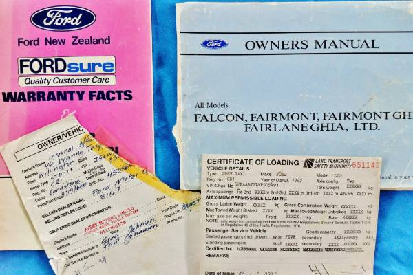 The original sales papers and operating manual of the 1994 Ford DC LTD that was the Government limousine for then Prime ...