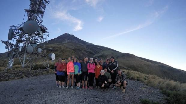 The Mt Taranaki Ascending team walked up the puffer to the Translator Tower on Thursday.