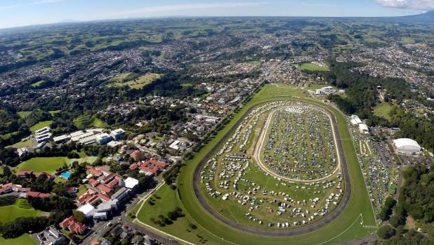The race course is packed with campers attending Womad.