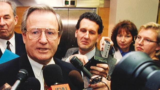 Then Prime Minister Jim Bolger may have got away from this media scrum at Parliament in July 1994 in the Ford DC LTD ...