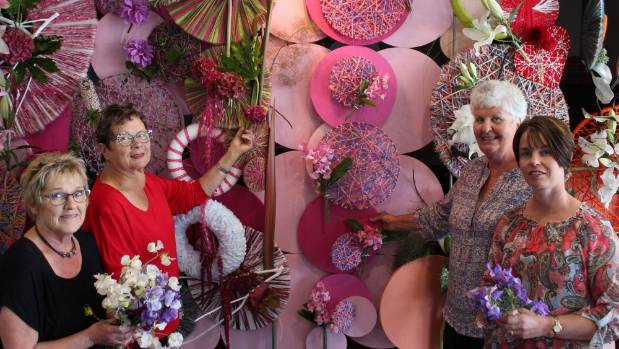 Central Southland Floral Art club members Paula Wilson, Robyn Gill, Dorothy King and president Anna King in front of a ...