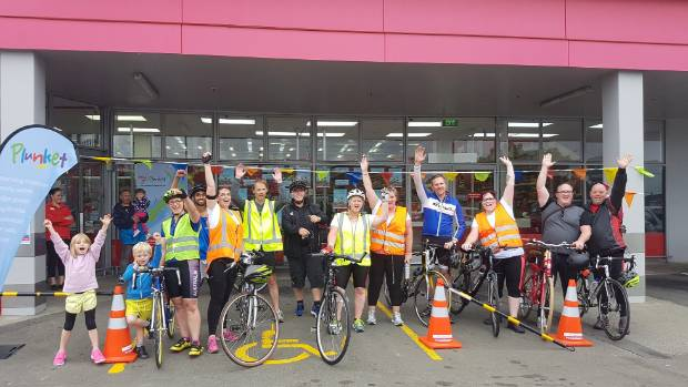 Riders on the Palmerston North to Feilding leg of the Pedal for Plunket fundraiser line up ready to go.