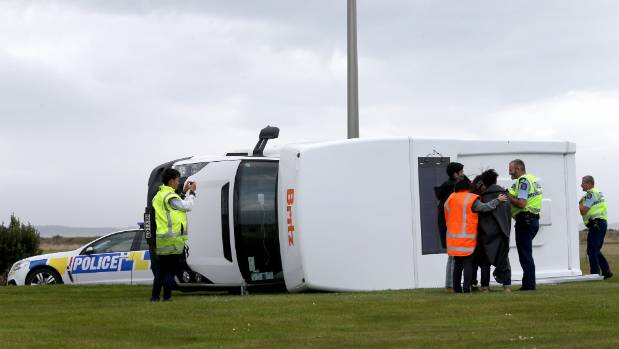 A campervan was blow over near the intersection of Motu Rimu Road and Bluff highway in Invercargill on Monday.