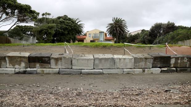 Meant to last up to five years, but now developing a suspicious lean, a temporary concrete block wall at Paraparaumu ...
