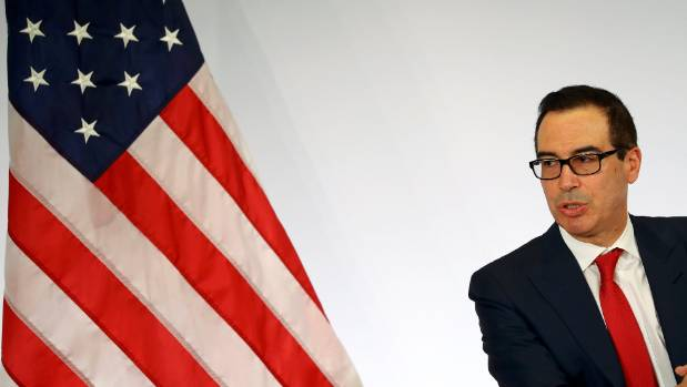 U.S. Treasury Secretary Steve Mnuchin addresses a news conference at the G20 Finance Ministers and Central Bank ...