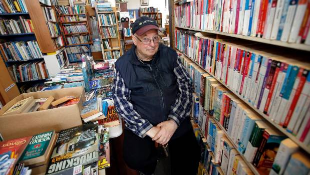 Wainuiomata bookshop owner Edwin MacKay has collected books for 30 years.