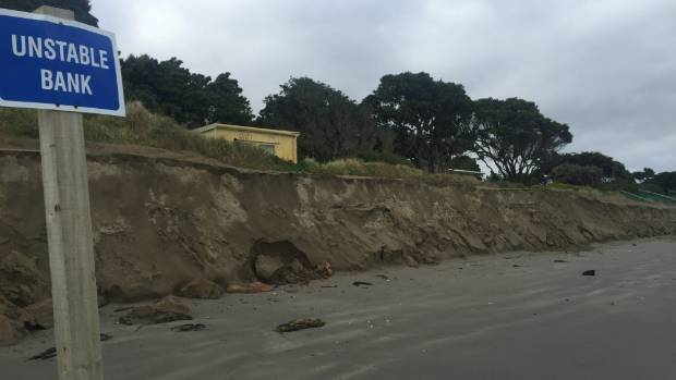 The view last year south along Paraparaumu Beach toward the embankment built up with sand trucked in by Kapiti Coast ...