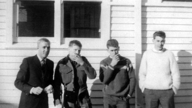 Cadets at the NZ Army Regular Force Cadet School in 1965, from left, Don Bensemann, Chris Robinson, Laurie Cooper and ...