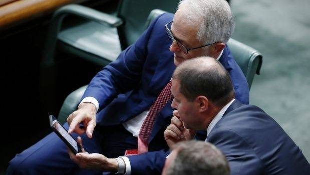 Australian Prime Minister Malcolm Turnbull and Environment and Energy Minister Josh Frydenberg at Parliament House in ...