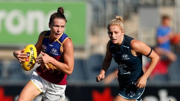 Emily Bates of the Brisbane Lions, left, will not be able to enjoy a home final.