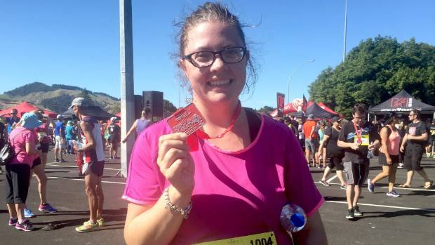 She did it! Reporter Caitlin Wallace at the completion of  the Huntly Half Marathon 10km run.