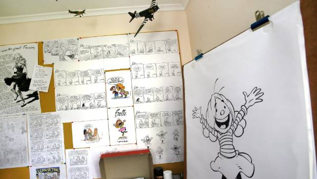 Brent Putze's drawing board for his comic book Belle.