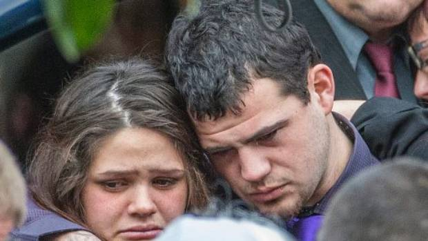 Mikala Stokes and Troy Taylor together at Ihaka's funeral in 2015.