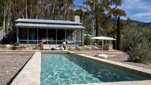 The property features a lap pool and an entertainment pavilion.
