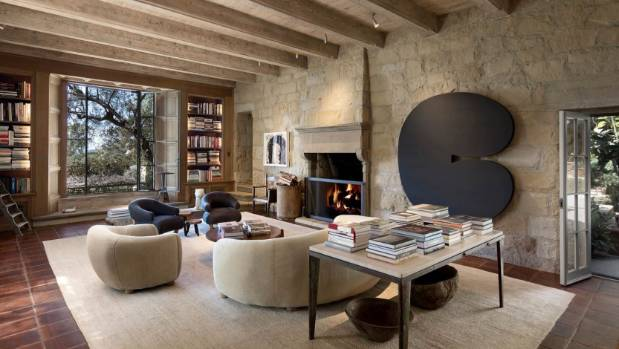 Altogether there are nine fireplaces in the 975 square-metre house.