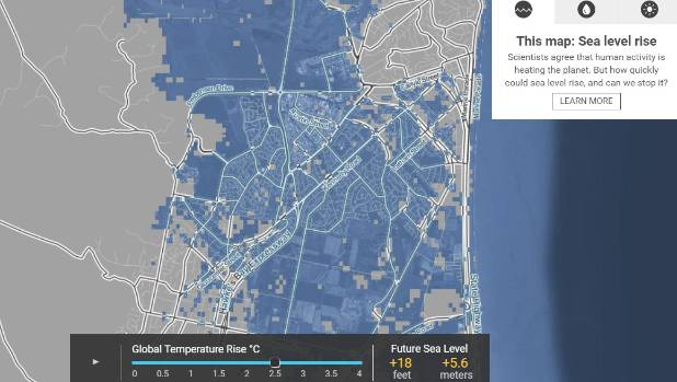 Sea Level Rise Could Swamp Some New Zealand Cities Stuffconz - Rising oceans map