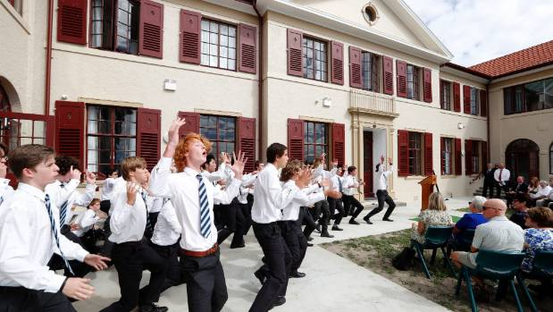 Nelson College students perform the college's haka at the opening of the refurbished Barnicoat House, the student's ...