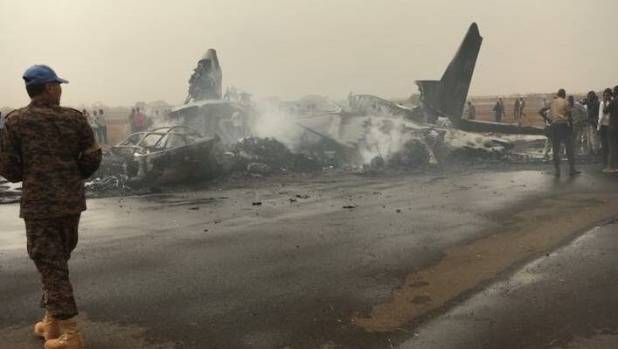 The South Supreme Airlines plane reportedly landed safely but because of bad weather, missed the line and hit a fire truck.