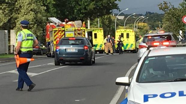 Emergency services at the scene of a serious crash on Tuhikaramea Rd, Hamilton.