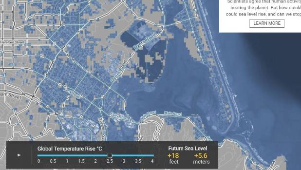 Most of Christchurch would be submerged by a 5.6 metre plus sea level rise.
