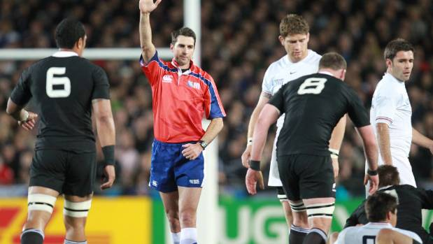 Referee Craig Joubert in the New Zealand v France 2011 Rugby World Cup final match at Eden Park.