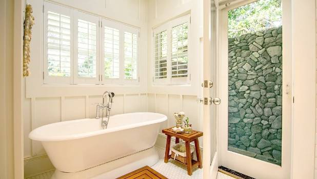 We love this vintage-style soaking tub in the master bathroom, but there's something outside that's even better.