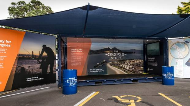 The Deeper Story pop-up container with information outlining the rationale, and scope of the deeper port proposal will ...
