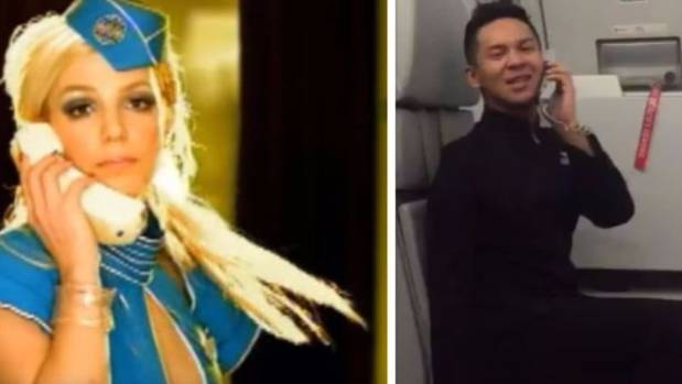 Flight attendant Assraf Nasir performed a routine while lip-syncing to Britney Spears' Toxic.