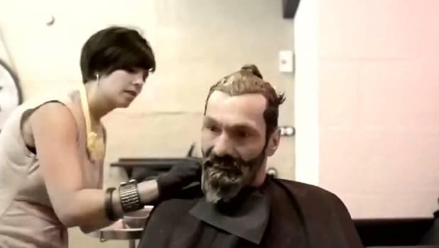 Antonio has his hair and beard dyed black.